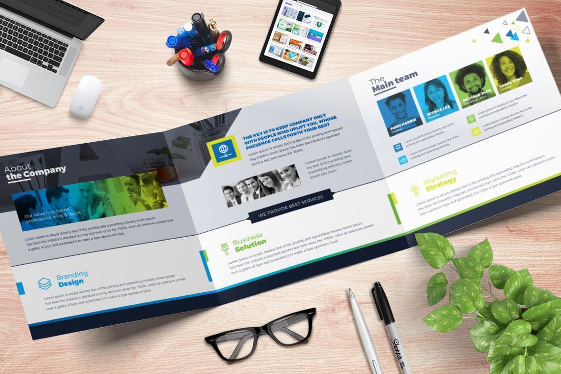 TrendBiz - Corporate Business Square and Tall Tri-Fold Brochure Design Template, Slide 3, 08843, Business — PoweredTemplate.com