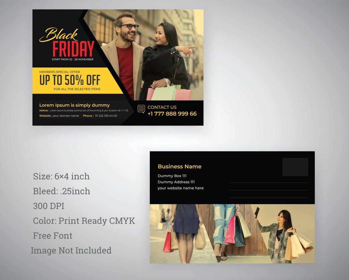 Black Friday Postcard Template, 08846, 抽象/テクスチャ — PoweredTemplate.com