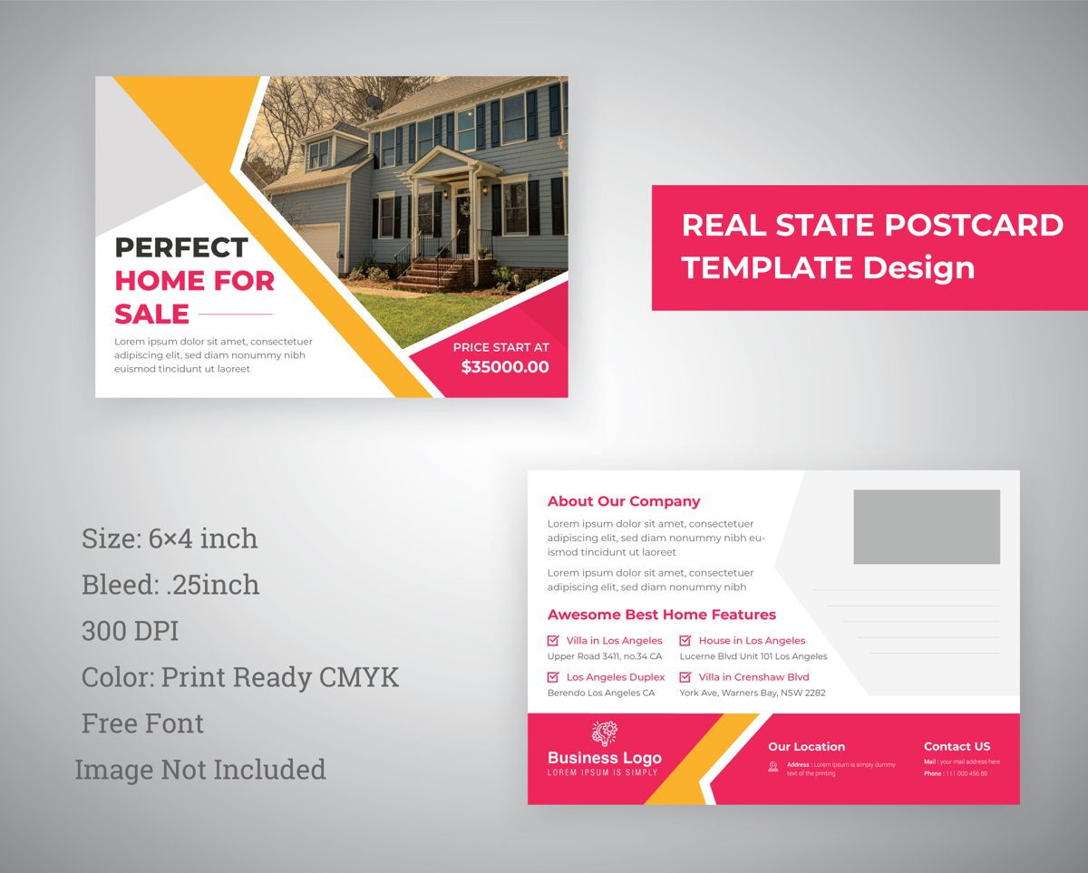 Postcard Template for Real states Business, 08847, 抽象/テクスチャ — PoweredTemplate.com