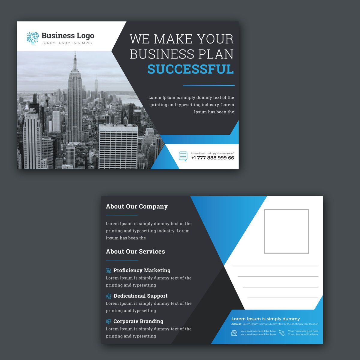 Business Services Postcard Design, 08848, Abstracto / Texturas — PoweredTemplate.com
