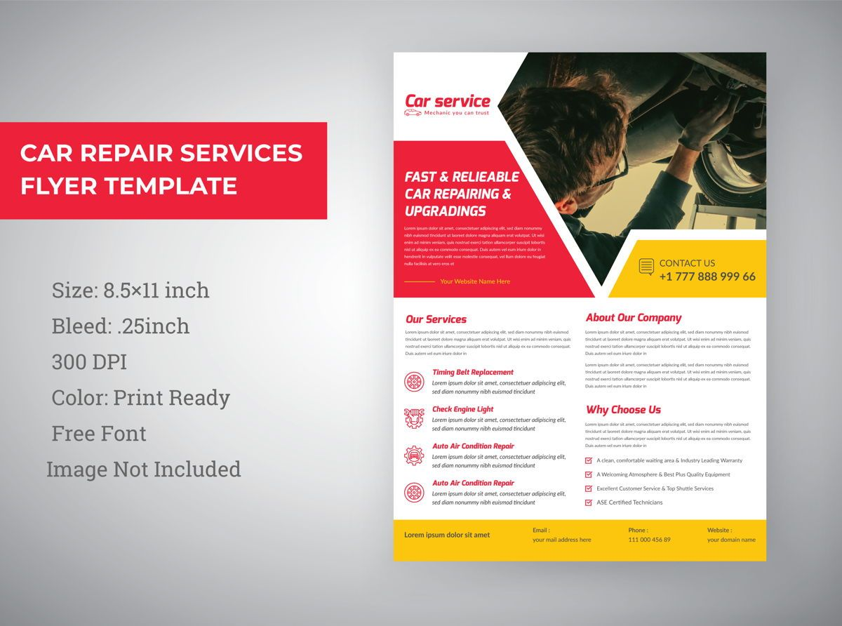 Car Repair Marketing material Design Flyer template, 08850, Abstract/Textuur — PoweredTemplate.com