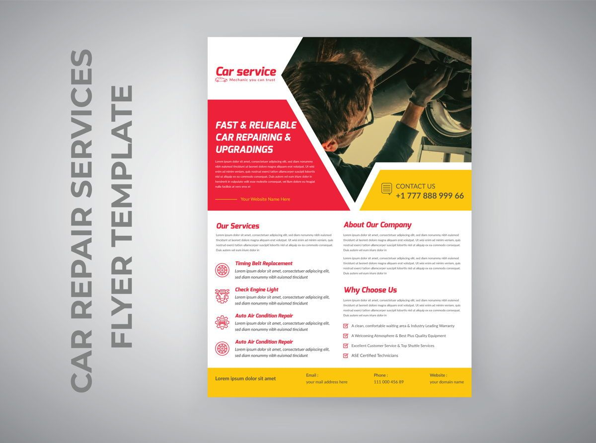Car Repair Marketing material Design Flyer template, Diapositiva 2, 08850, Abstracto / Texturas — PoweredTemplate.com