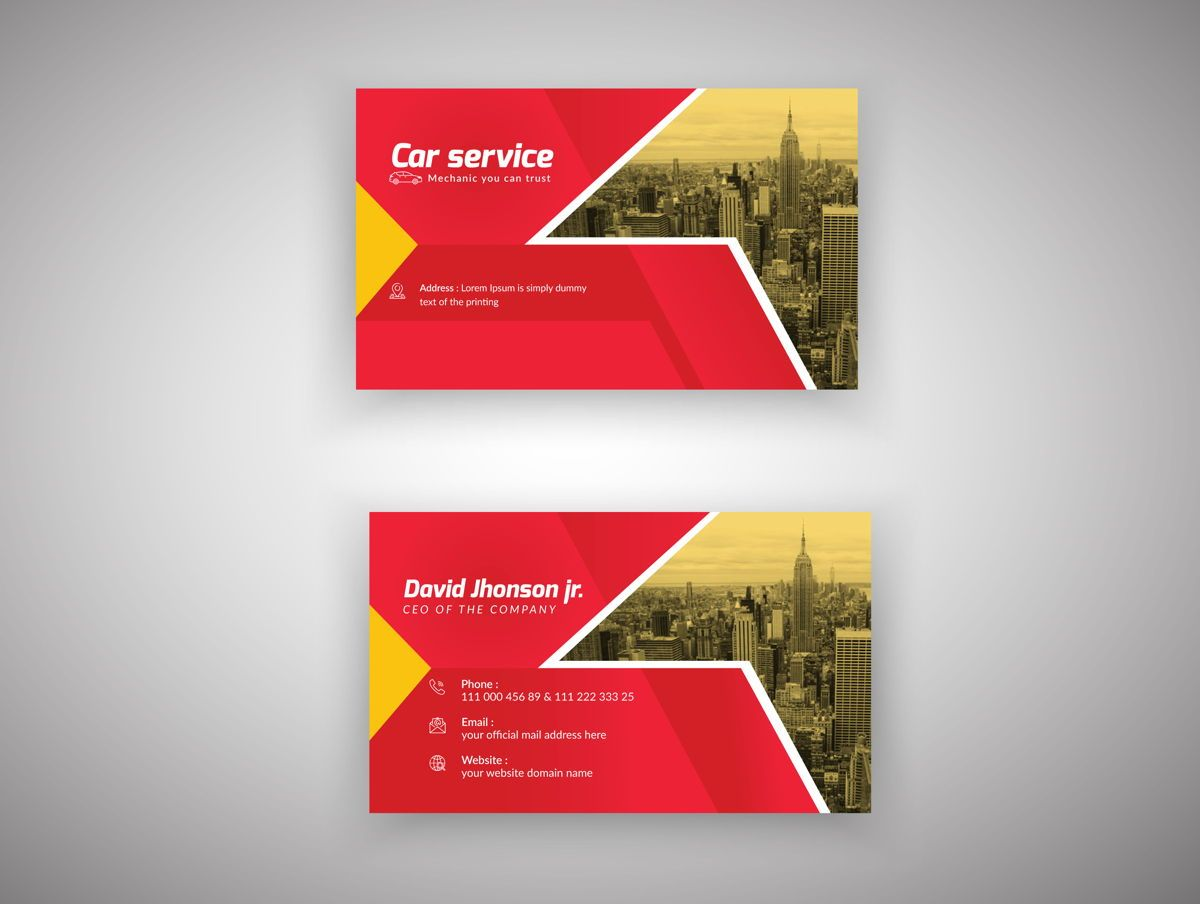 Car Repair Service Marketing material Design Business Card Template, 08851, Abstract/Textures — PoweredTemplate.com