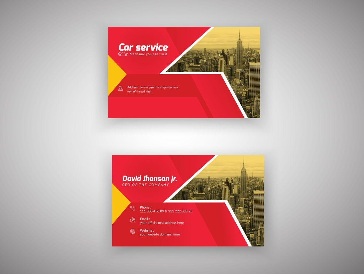 Car Repair Service Marketing material Design Business Card Template, 08851, 추상/직물 — PoweredTemplate.com