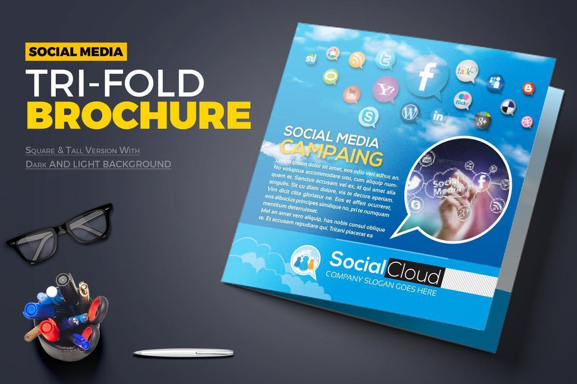 Social Media Tri-Fold Brochure Design Template, 08852, Technology, Science & Computers — PoweredTemplate.com
