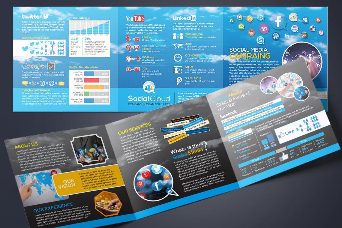 Social Media Tri-Fold Brochure Design Template, Slide 2, 08852, Technology, Science & Computers — PoweredTemplate.com
