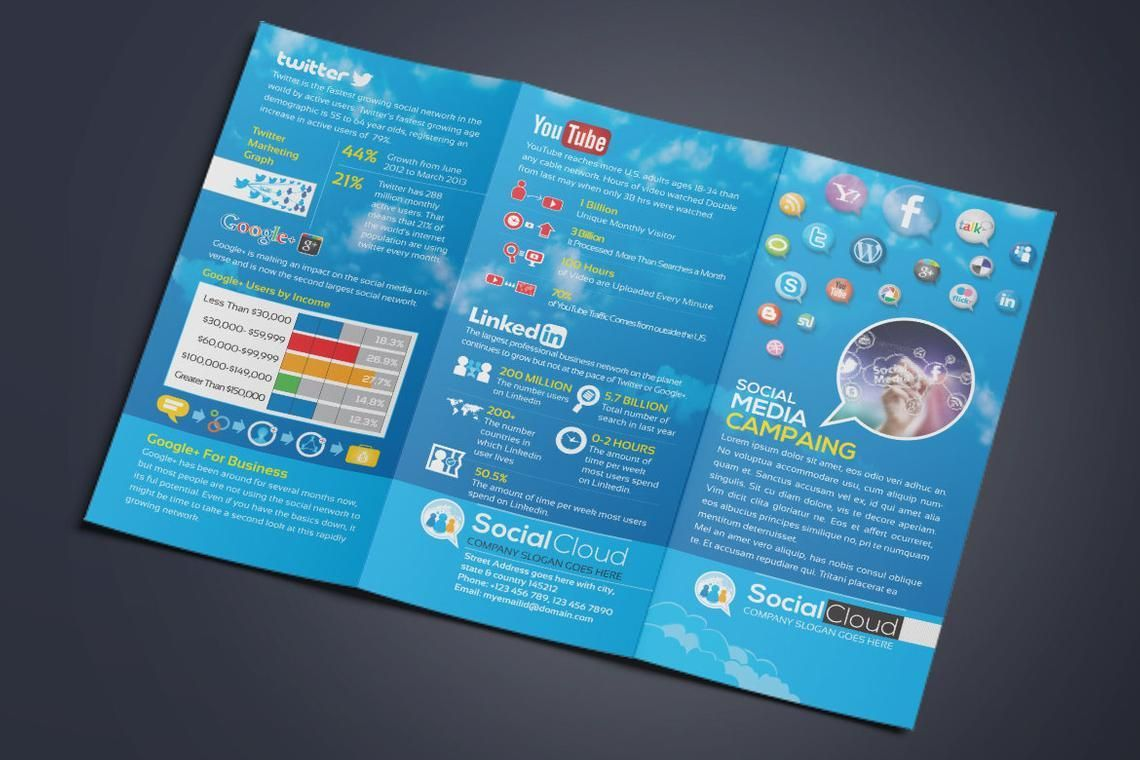 Social Media Tri-Fold Brochure Design Template, Slide 4, 08852, Technology, Science & Computers — PoweredTemplate.com