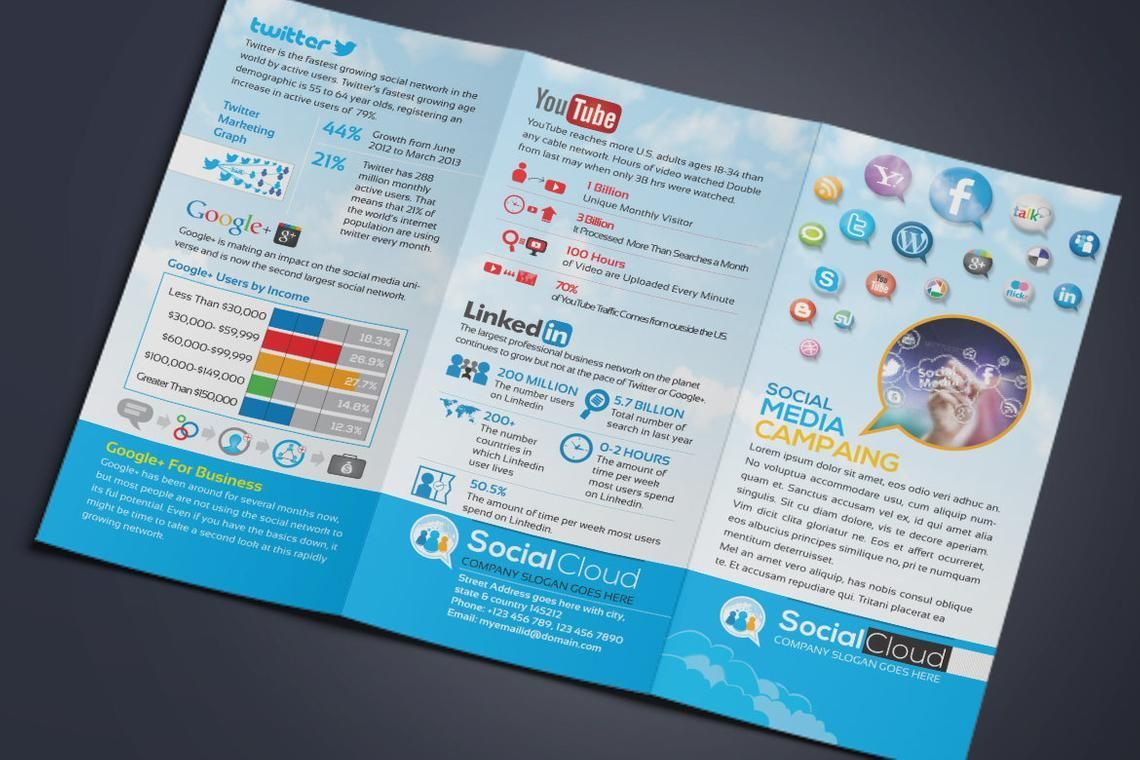 Social Media Tri-Fold Brochure Design Template, Slide 6, 08852, Technology, Science & Computers — PoweredTemplate.com