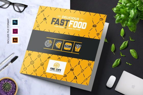 Food & Beverage: Fast Food Restaurant Tri-Fold Brochure Template #08853