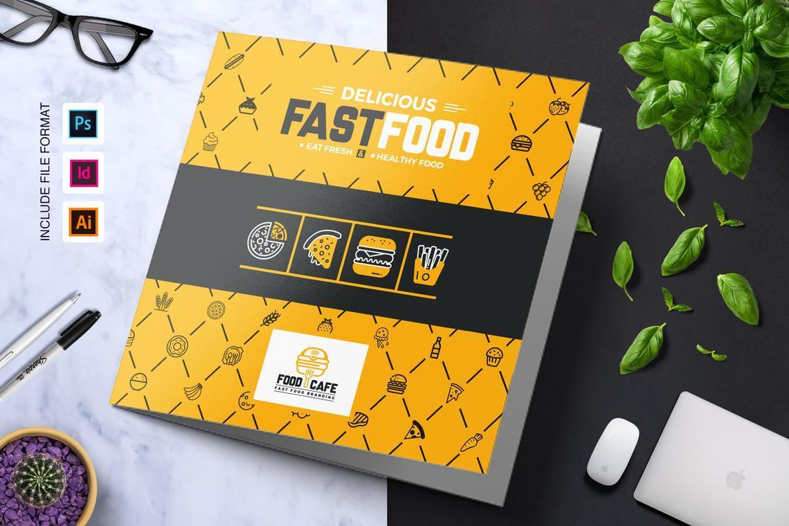 Fast Food Restaurant Tri-Fold Brochure Template, 08853, Food & Beverage — PoweredTemplate.com