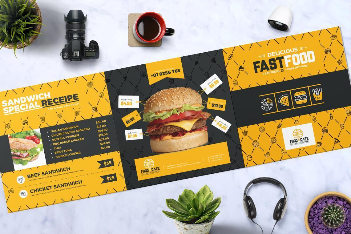 Fast Food Restaurant Tri-Fold Brochure Template, Slide 2, 08853, Food & Beverage — PoweredTemplate.com
