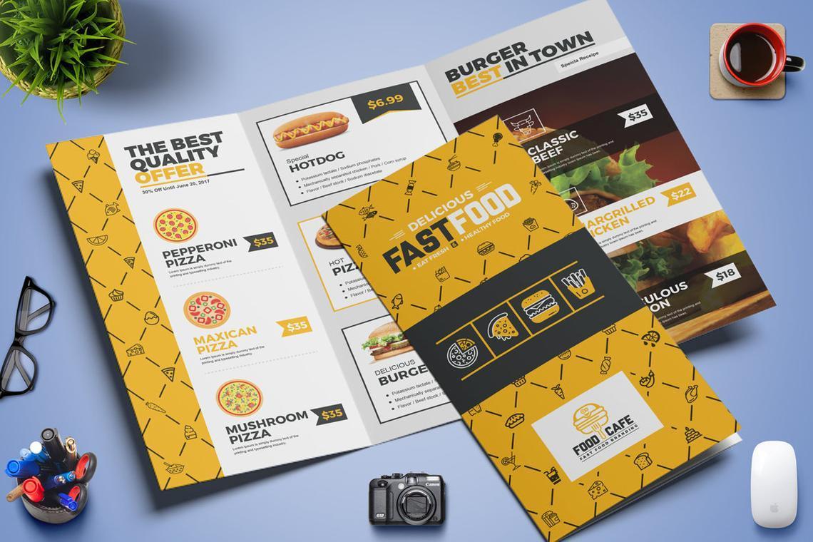 Fast Food Restaurant Tri-Fold Brochure Template, Slide 4, 08853, Food & Beverage — PoweredTemplate.com
