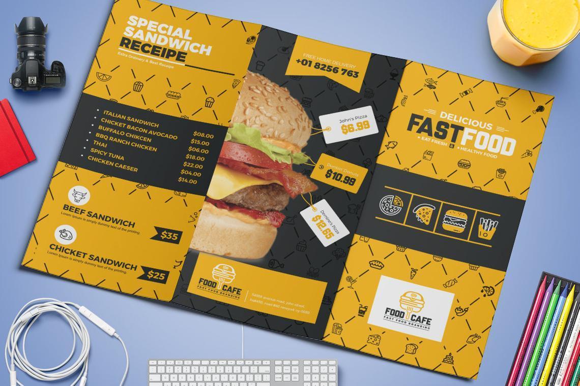 Fast Food Restaurant Tri-Fold Brochure Template, Slide 5, 08853, Food & Beverage — PoweredTemplate.com
