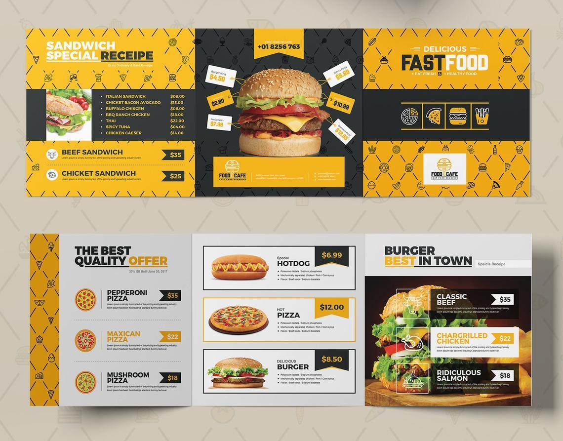 Fast Food Restaurant Tri-Fold Brochure Template, Slide 6, 08853, Food & Beverage — PoweredTemplate.com