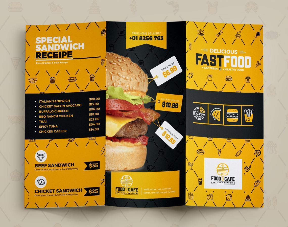 Fast Food Restaurant Tri-Fold Brochure Template, Slide 7, 08853, Food & Beverage — PoweredTemplate.com