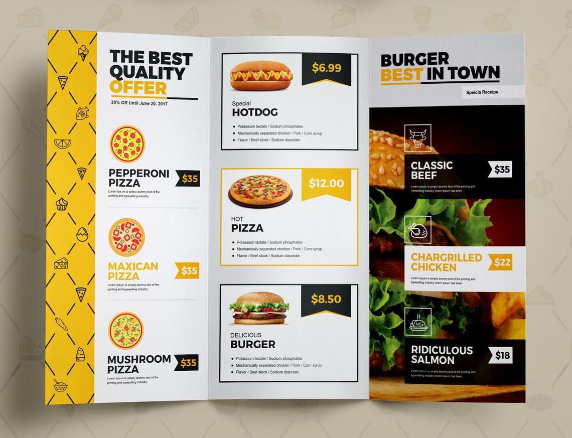 Fast Food Restaurant Tri-Fold Brochure Template, Slide 8, 08853, Food & Beverage — PoweredTemplate.com