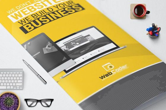 Technology, Science & Computers: Web Design and Development Agency Tri-Fold InDesign Brochure Template #08854