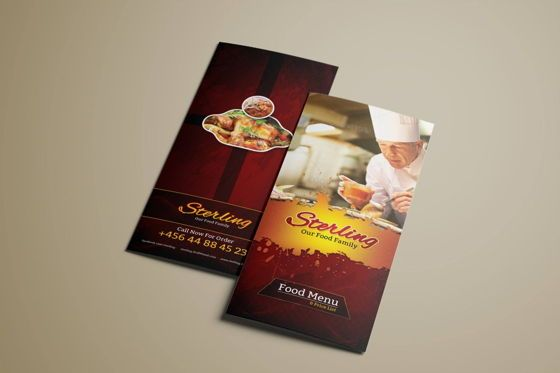 Food & Beverage: Tri-Fold Food Menu Template #08855