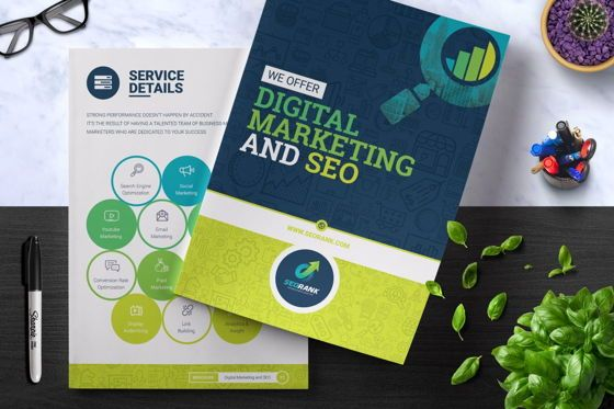 Consulting: SeoRank Bi-Fold Brochure - Corporate Identity Template #08856