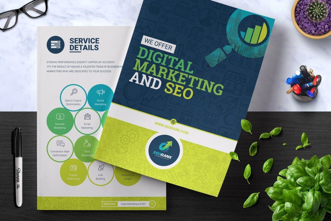 SeoRank Bi-Fold Brochure - Corporate Identity Template, 08856, Consulting — PoweredTemplate.com