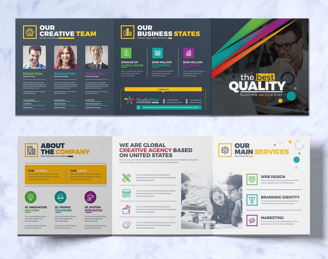 Tri-Fold Brochure Design Template Square and Tall Version Corporate Identity Template, Slide 2, 08857, Business — PoweredTemplate.com