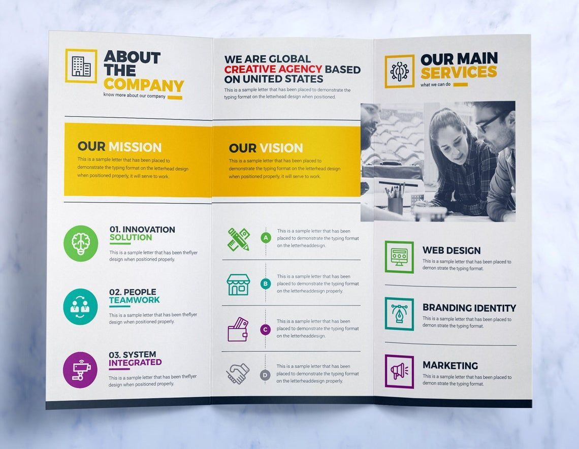 Tri-Fold Brochure Design Template Square and Tall Version Corporate Identity Template, Slide 4, 08857, Business — PoweredTemplate.com