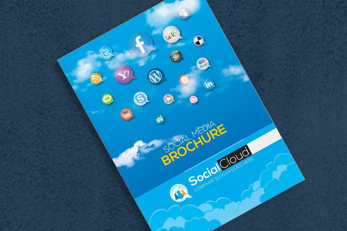 Brochure for Social Media Business Corporate Identity Template, 08858, Technology, Science & Computers — PoweredTemplate.com