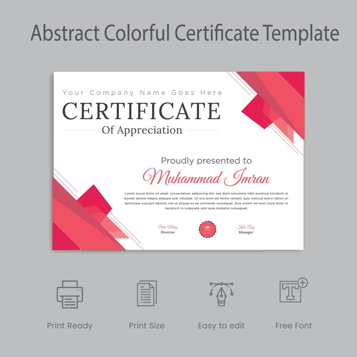 Minimal and Professional Certificate Designs template, 08862, Abstract/Textures — PoweredTemplate.com