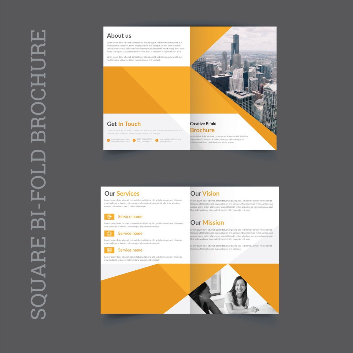 Clean Eye Catchy Professional Company Square Bifold Brochure, 08863, Abstract/Textuur — PoweredTemplate.com