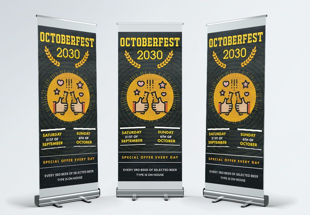 Latest festival Roll Up Banner Templates Design, 幻灯片 2, 08864, 抽象/纹理 — PoweredTemplate.com