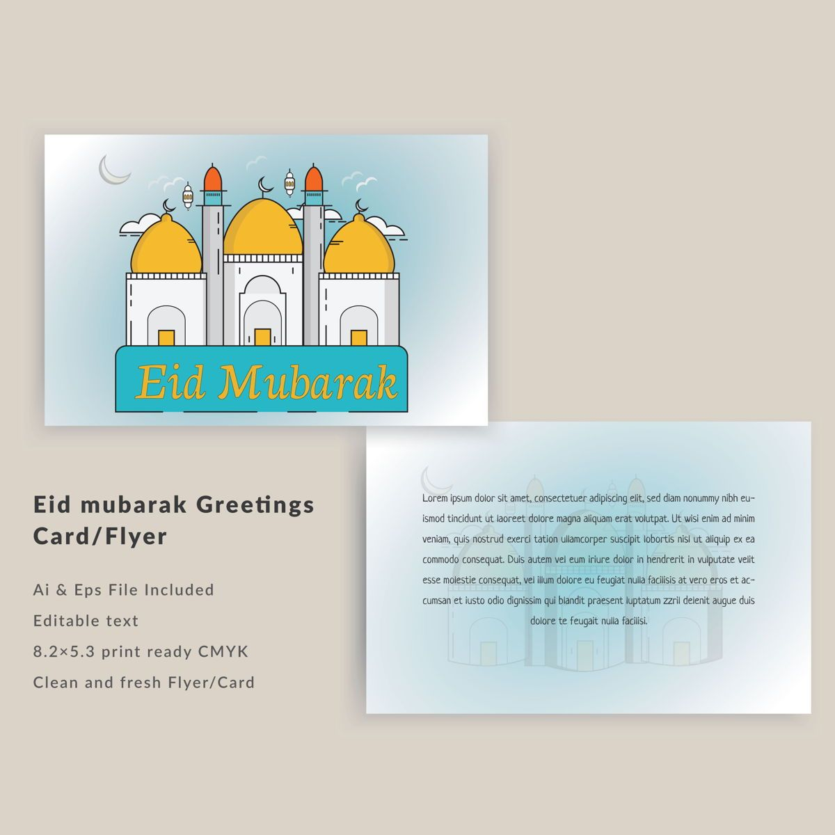 Eid Festival Greeting and invitation card flyer template design, 08866, Abstract/Textures — PoweredTemplate.com