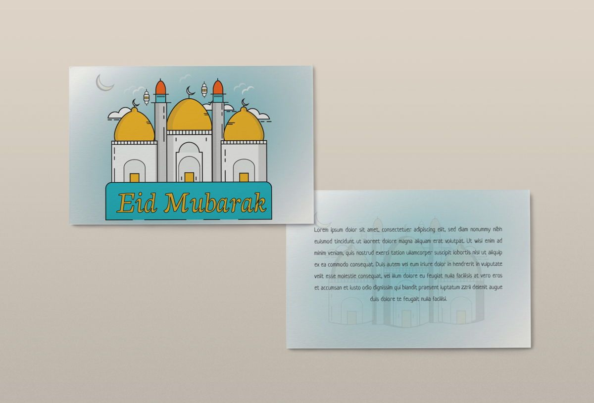Eid Festival Greeting and invitation card flyer template design, Diapositiva 2, 08866, Abstracto / Texturas — PoweredTemplate.com