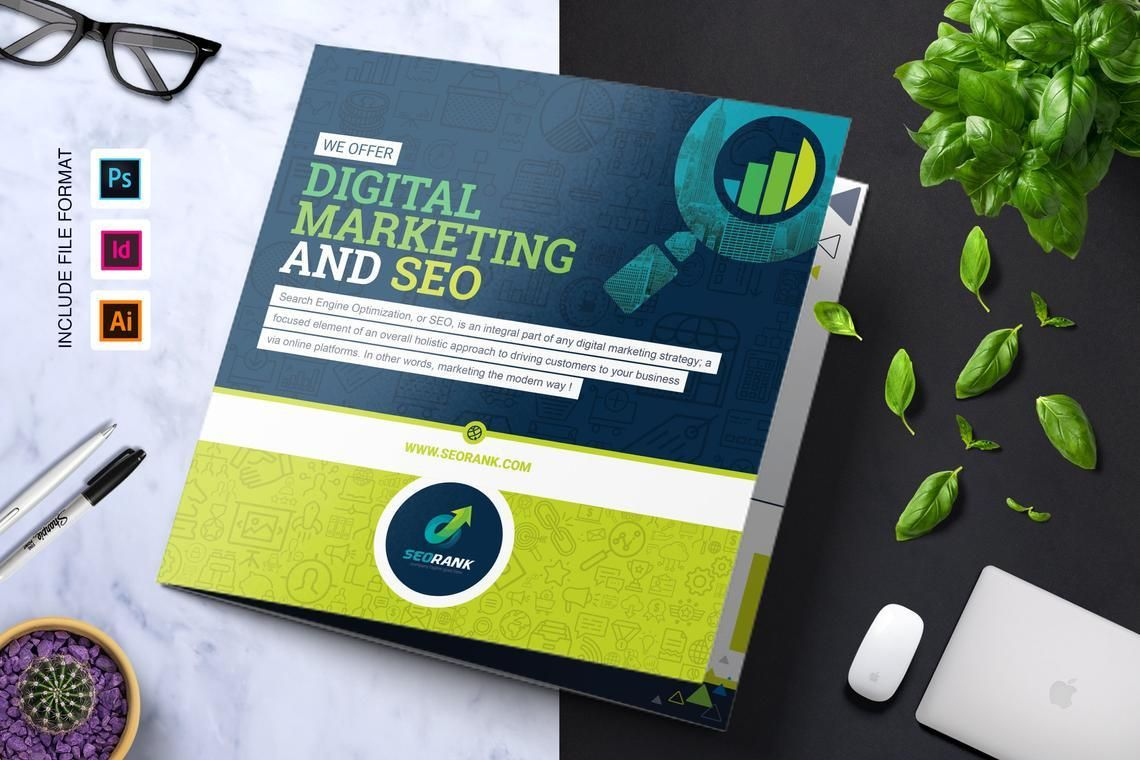 SEO Digital Marketing Agency Tr-Fold Brochure Template, 08868, Consulting — PoweredTemplate.com