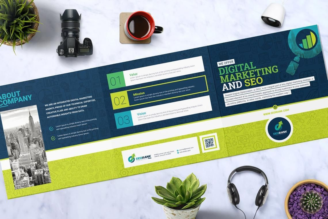 SEO Digital Marketing Agency Tr-Fold Brochure Template, Slide 2, 08868, Consulting — PoweredTemplate.com
