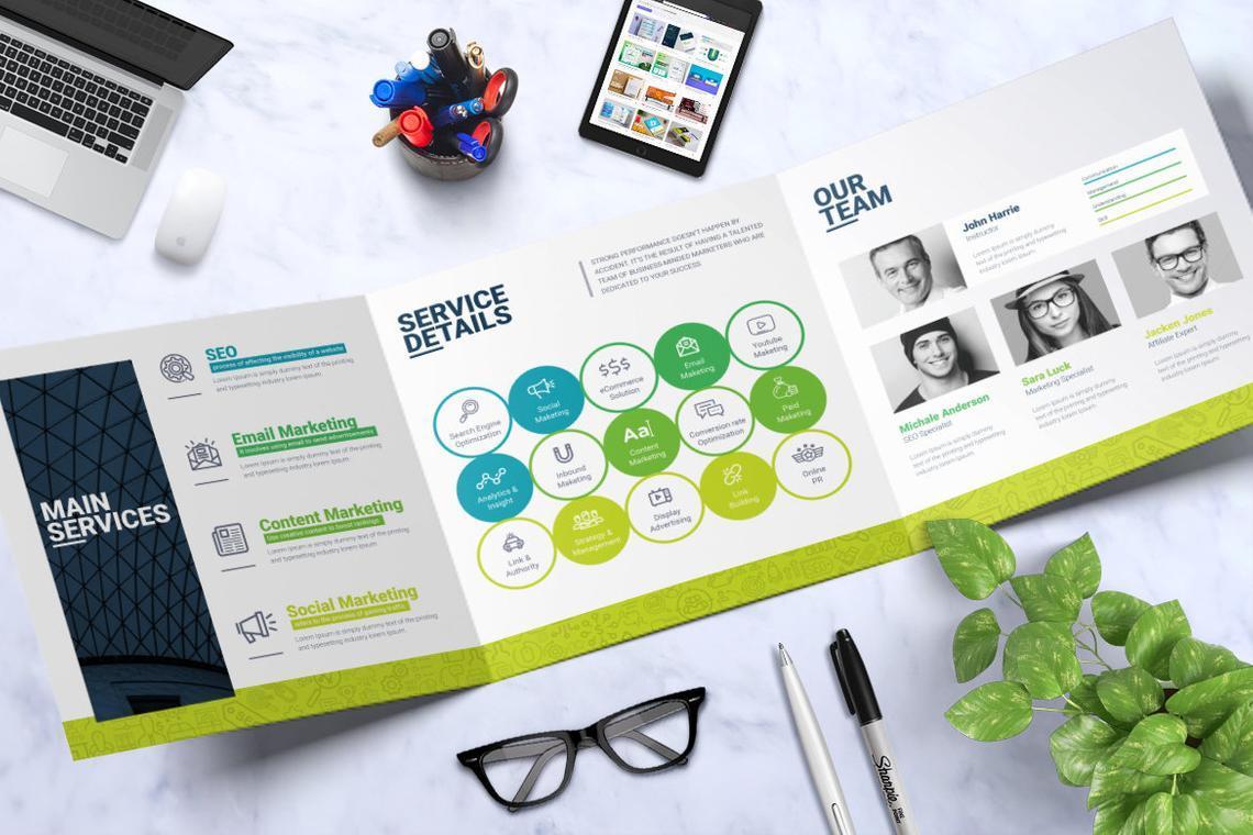 SEO Digital Marketing Agency Tr-Fold Brochure Template, Slide 3, 08868, Consulting — PoweredTemplate.com