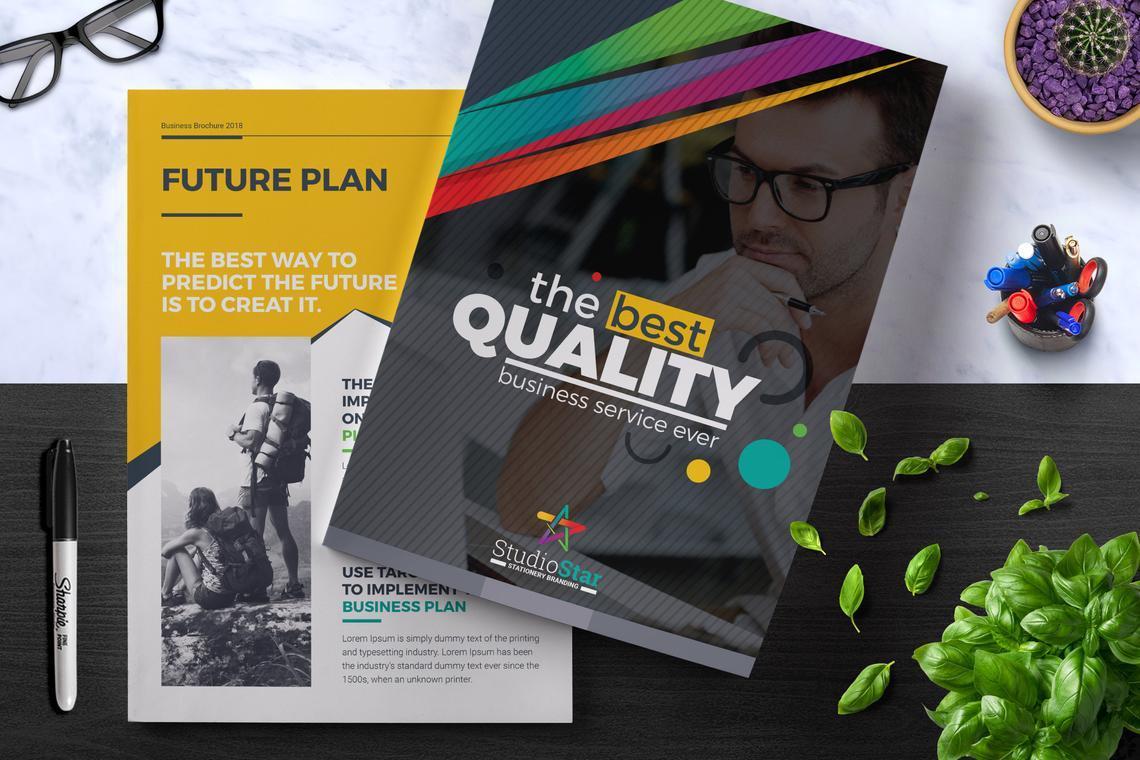 Corporate InDesign Brochure Template, 08870, Business — PoweredTemplate.com
