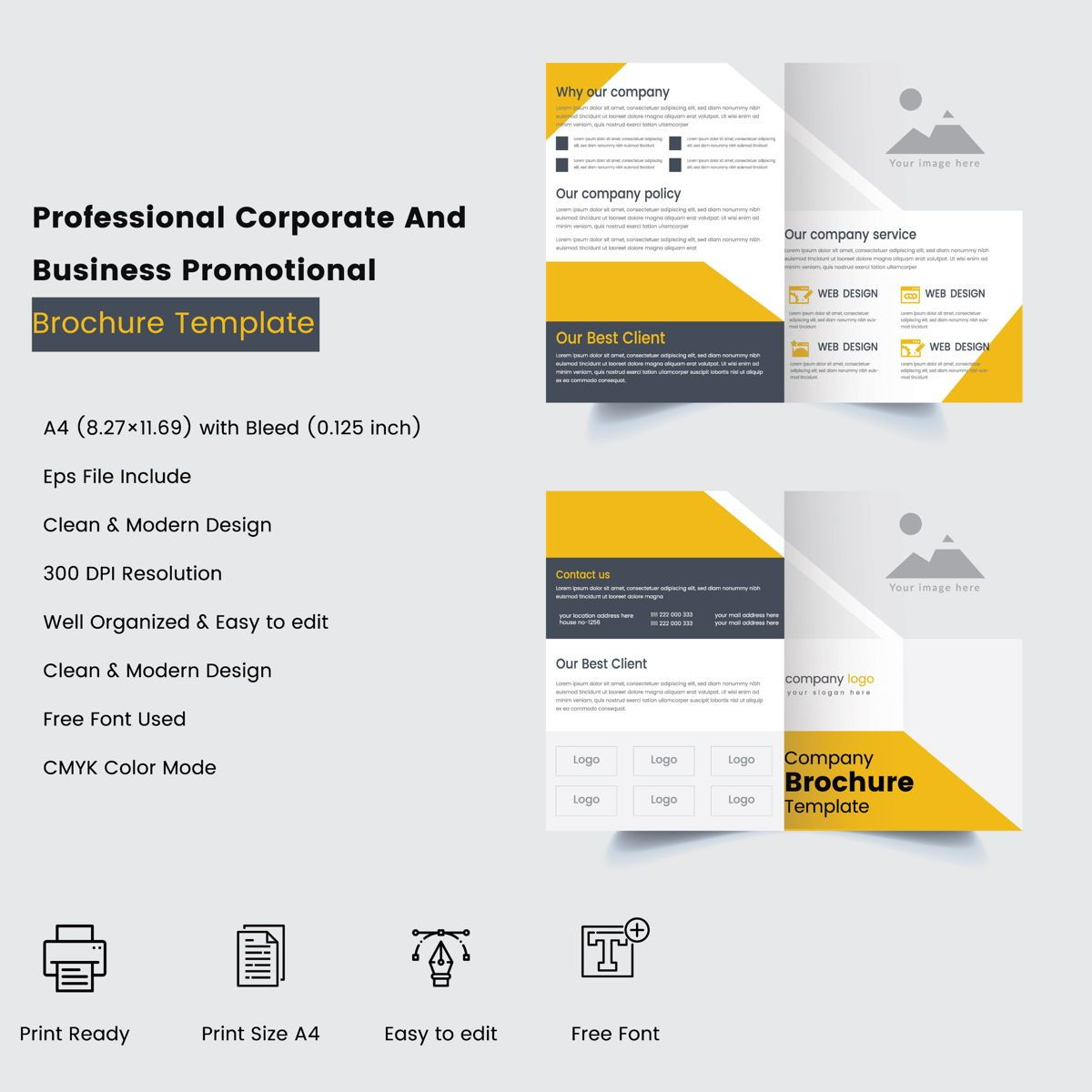 Professional Corporate And Business Promotional Print Ready Brochure Templates, 08875, 抽象/テクスチャ — PoweredTemplate.com