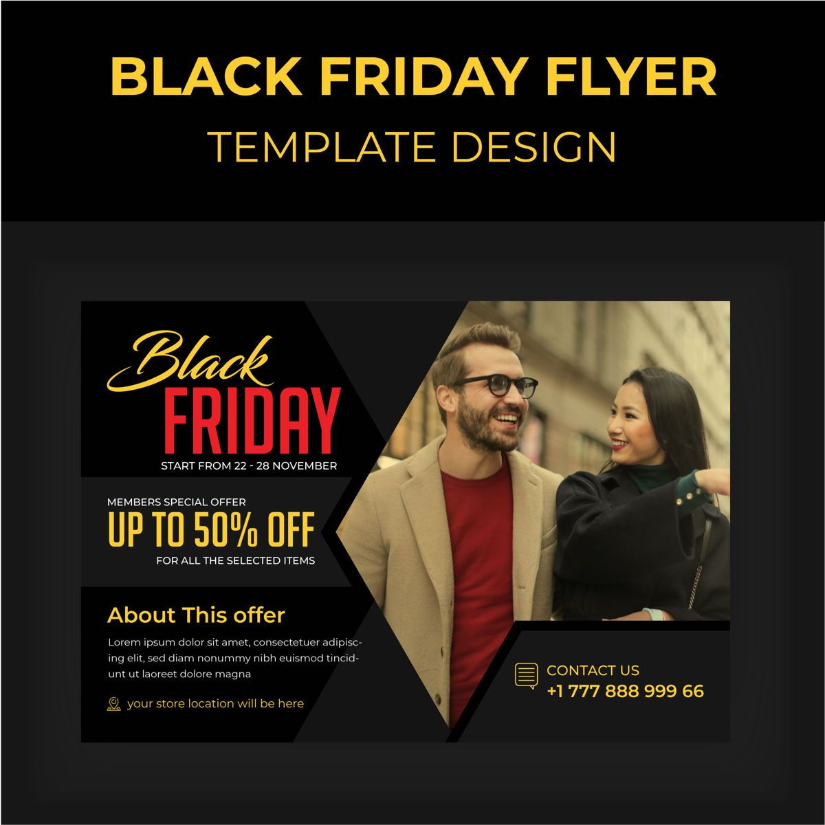 Black Friday Service Promotional flyer design, 08876, 3D — PoweredTemplate.com