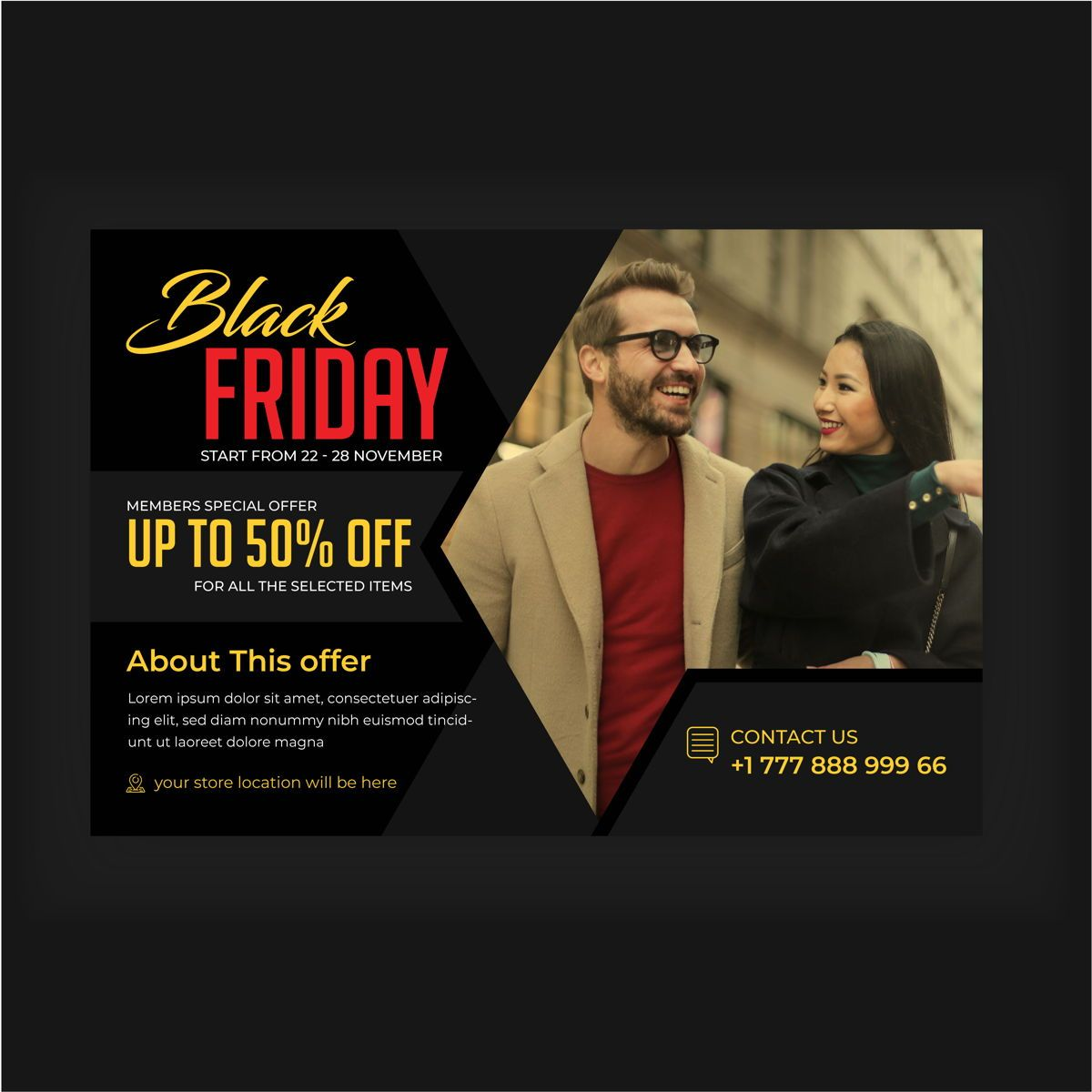 Black Friday Service Promotional flyer design, Folie 2, 08876, 3D — PoweredTemplate.com
