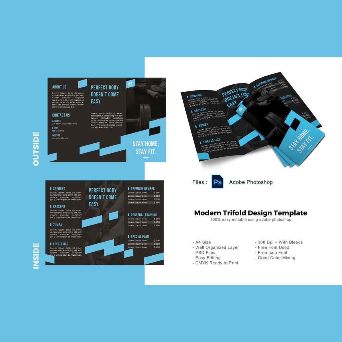 Fitbody trifold photoshop template, 08877, Sports — PoweredTemplate.com