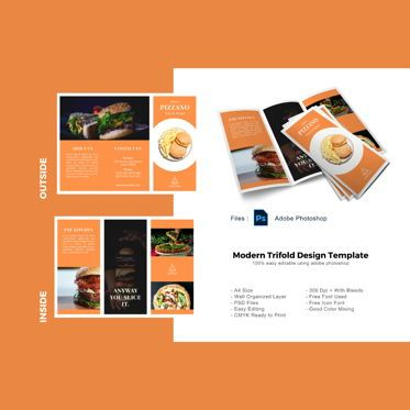 Food & Beverage: Pizzano delicious trifold menu business photoshop template #08878
