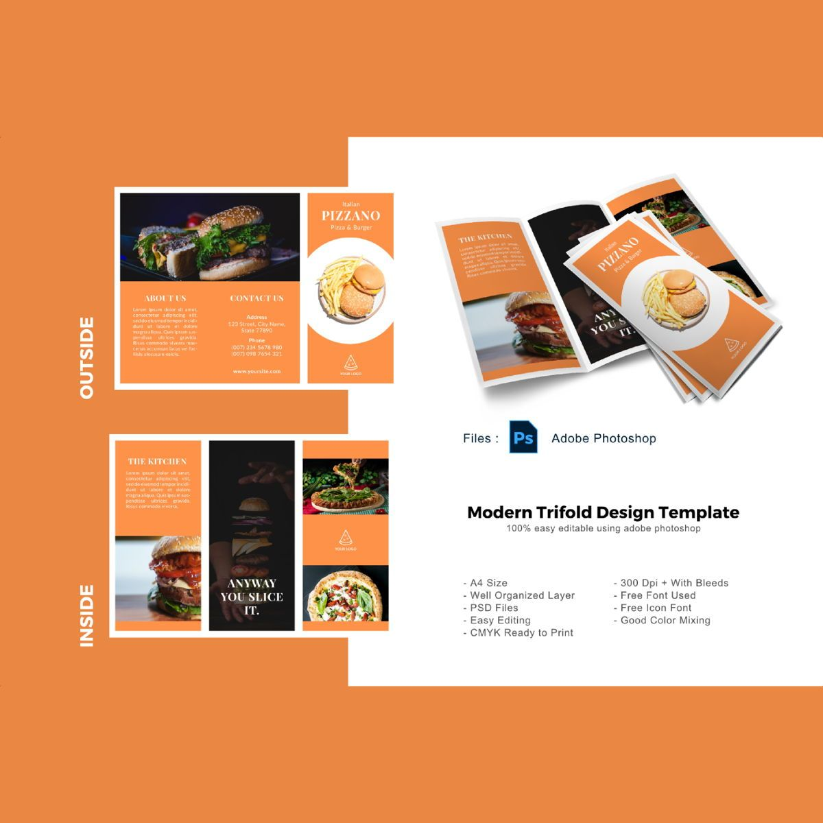 Pizzano delicious trifold menu business photoshop template, 08878, Food & Beverage — PoweredTemplate.com