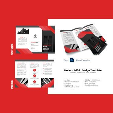 Business: Modern red business trifold photoshop template #08879