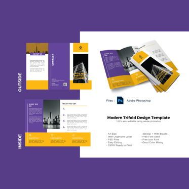 Business: Business creative trifold photoshop template #08880