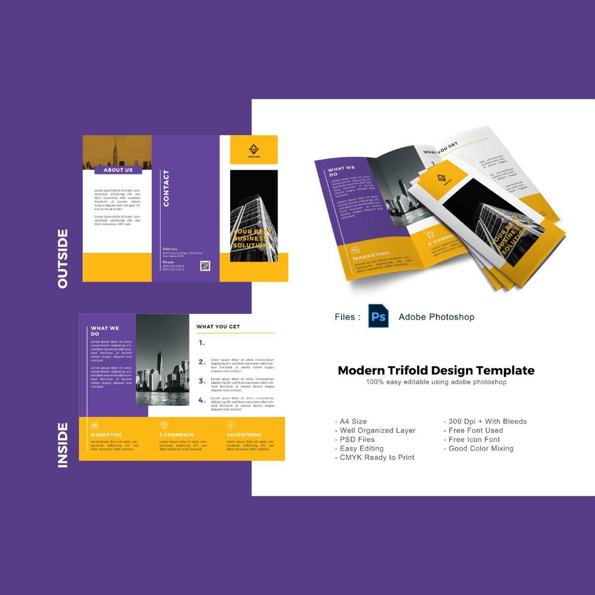 Business creative trifold photoshop template, 08880, Business — PoweredTemplate.com