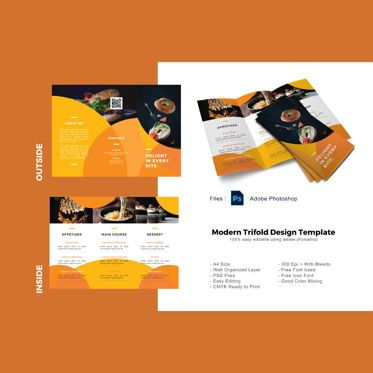 Food & Beverage: Culinary menu trifold photoshop template #08881