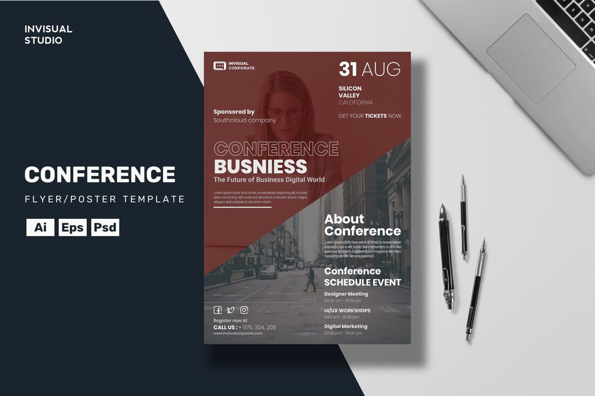 Conference Flyer Template, 08885, Business Concepts — PoweredTemplate.com