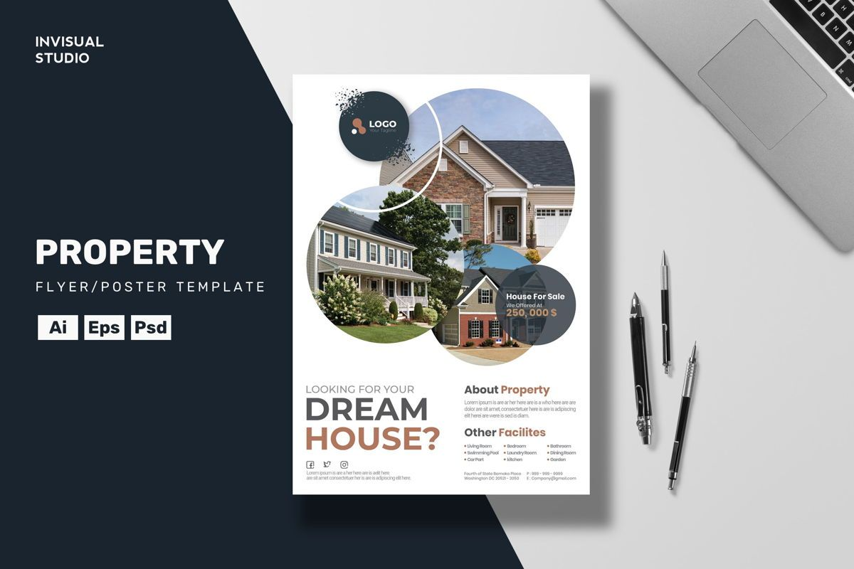Dream House Flyer Template, 08886, Business Concepts — PoweredTemplate.com