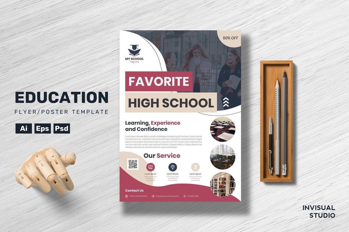 Favorite High School Flyer Template, 08890, Education & Training — PoweredTemplate.com