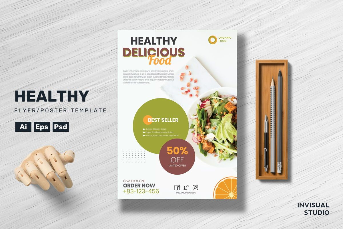 Healthy Food Flyer Template, 08892, Food & Beverage — PoweredTemplate.com